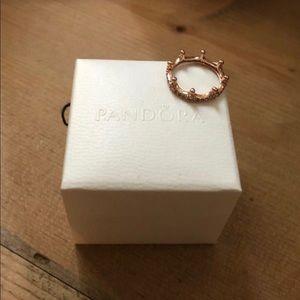 Rose gold pandora crown ring